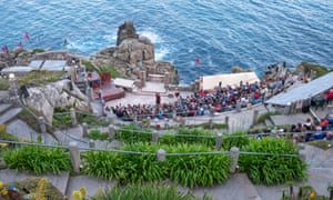 The Minack Theatre on the coastal cliffs at Porthcurno in Cornwall, England, UK.