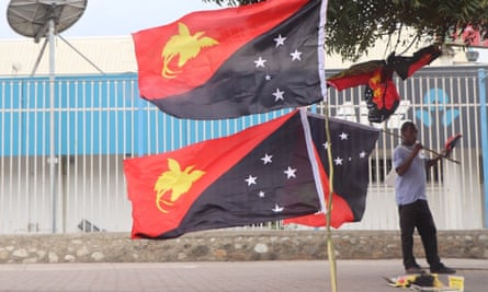A street vendor sells flags in the PNG capital Port Moresby ahead of Independence Day celebrations as the country grapples with a polio outbreak.