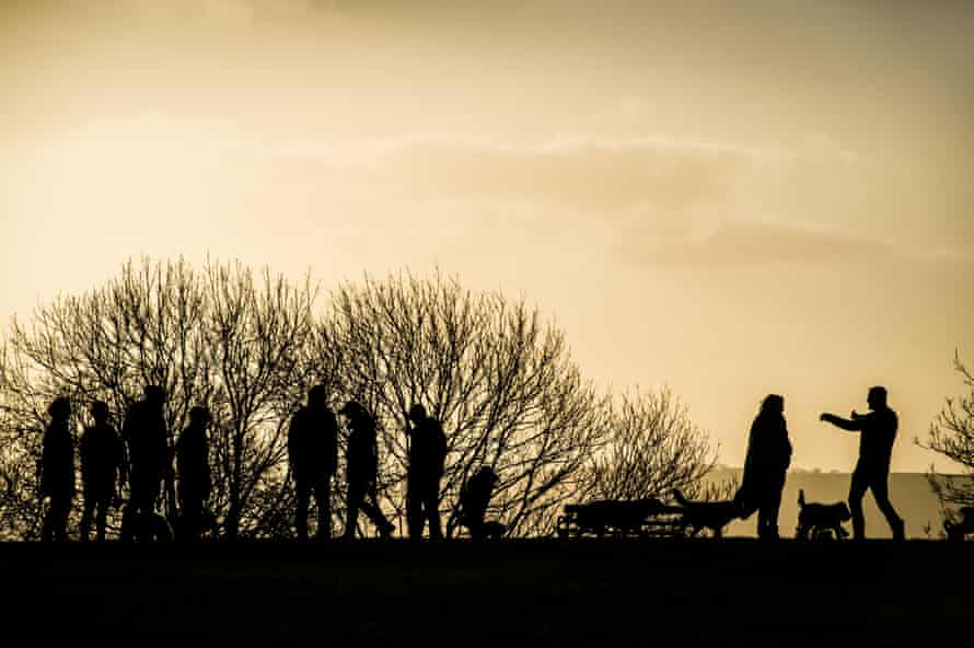 Dog walkers silhouetted atop a hill