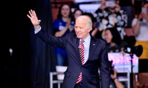 Joe Biden arrives to address the Democratic party's 61st annual McIntyre-Shaheen 100 Club dinner in Manchester, New Hampshire, on 8 February.