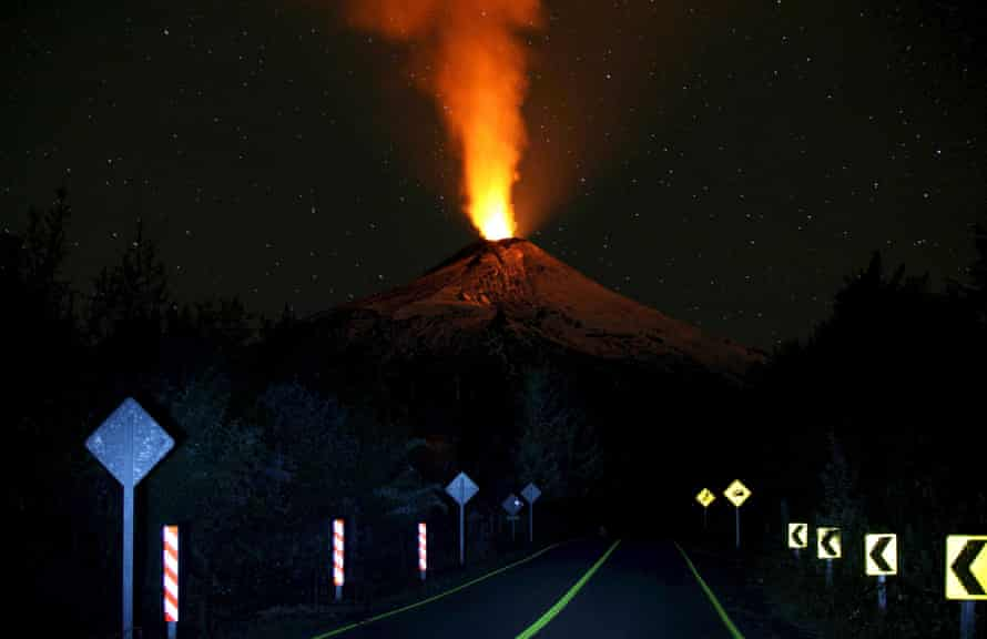 Smoke and lava spew from the Villarrica volcano on April 22.