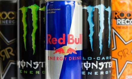 Cans of Rockstar, Monster, Amp and Red Bull energy drinks.