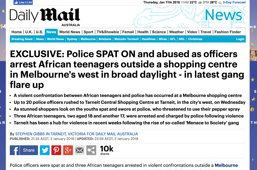 An article on the Daily Mail in which they reported on purported gang violence in Melbourne.