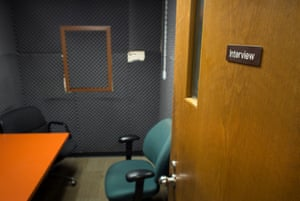 An interview room in the Detective Bureau office of Camden County Police Department