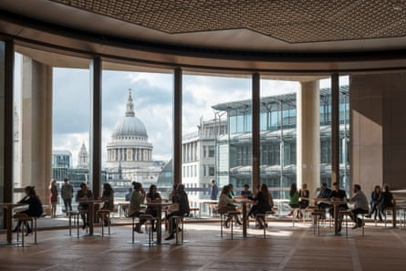 'Corporate generosity': the sixth-floor 'Pantry' offers free food and a 'majestic view' of St Paul's.
