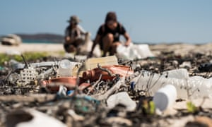 Plastic waste strewn on Djulpan beach