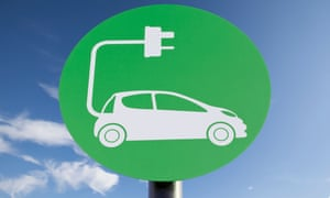 green sign depicting a car charging point against a blue sky background