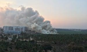 Bellandur lake on fire in Bangalore