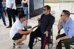 Hot seat: Taron Egerton, Elton John and David Furnish on the set of Rocketman.