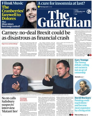 Guardian front page, Friday 14 September 2018