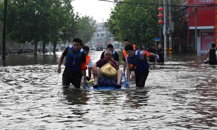 Henan province in China, where at least 50 people have died in floods