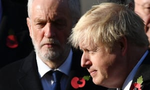Boris Johnson and Jeremy Corbyn take part in the Remembrance Sunday ceremony at the Cenotaph.