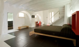 Modern cave bedrooms at Hotel Basiliani