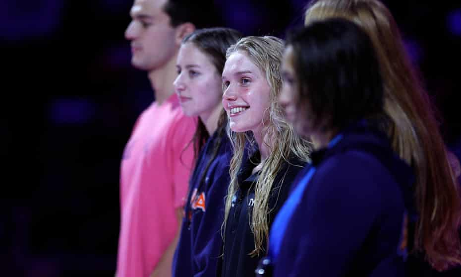 Claire Curzan (second left) smiles after her second place in the US trials confirmed her place at the Tokyo Olympics