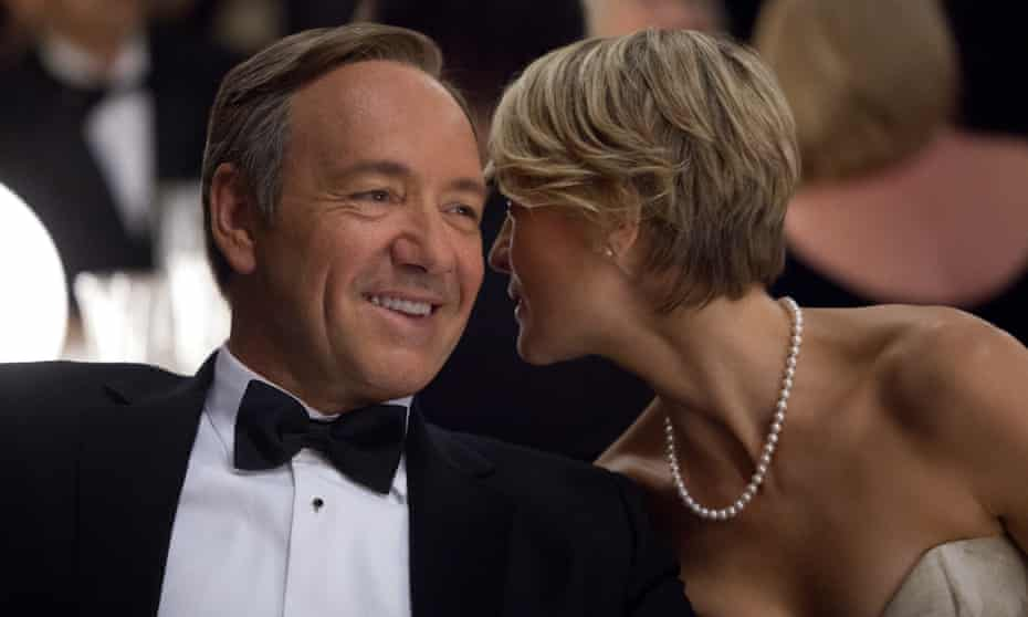"""TV-House of Cards<br>This image released by Netflix shows Kevin Spacey as U.S. Congressman Frank Underwood, left, and Robin Wright as Claire Underwood in a scene from the Netflix original series, """"House of Cards."""" The new original series arrived in one big helping _ all 13 episodes of its first season _ on the subscription streaming service on Friday, Feb. 1, 2013, for viewers to enjoy, at their leisure, in the weeks, months or even years to come. (AP Photo/Netflix, Melinda Sue Gordon) (AP Photo/Netflix) _scene 101-020;episode 101;Kevin Spacey as Francis Underwood;MSG-select"""