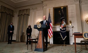 President Joe Biden delivers remarks on his administration's response to climate change at an event in the State Dining Room of the White House.