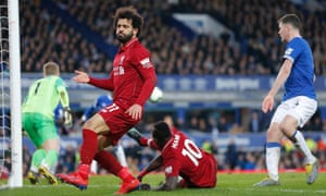 Mohamed Salah reacts as another chances goes begging for Liverpool against Everton at Goodison Park.
