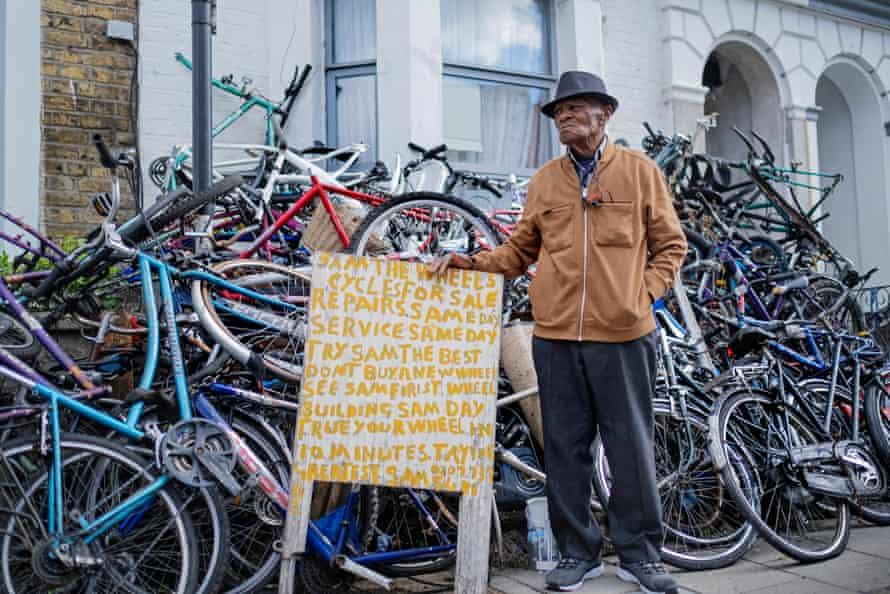 Sam the Wheels … since retiring, Salmon has run a cycle repair business out of his home.
