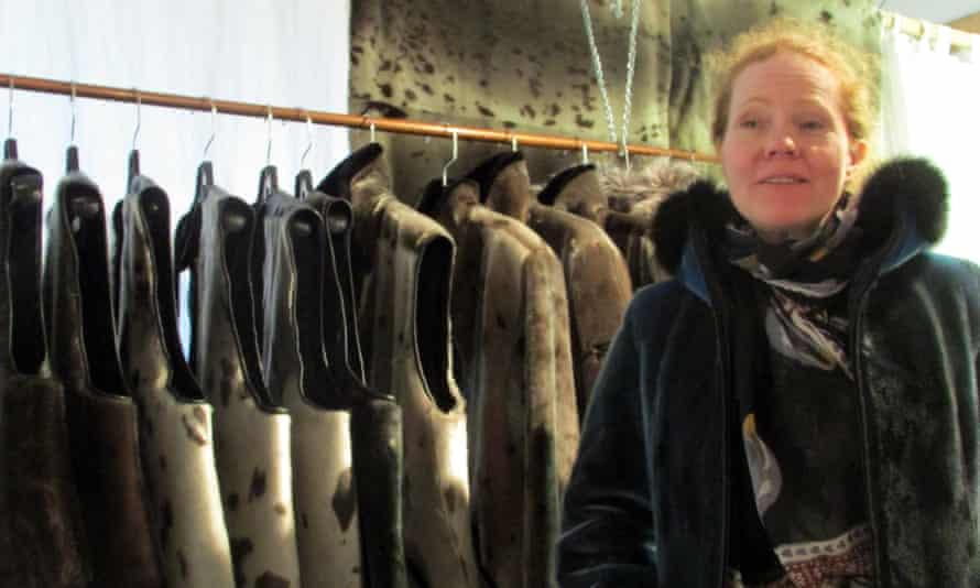 Rannva Simonsen, a luxury fur outerwear designer in Iqaluit, models one of her looks.