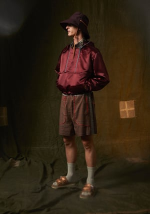 Shirt, £475, jacket, £670, and shorts, £375, by Boramy Viguier. Orange Velcro sandals, £176, by Suicoke. Socks, £8.99 for pack of 3, by Glenmuir from SockShop. Purple bucket hat, stylist's own