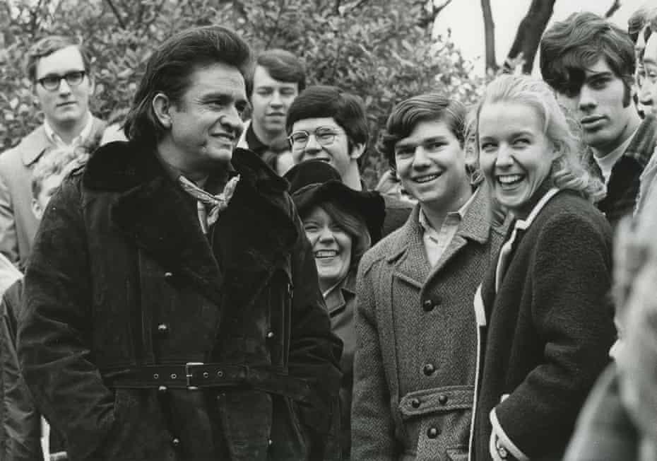 Johnny Cash speaks with students during a visit to Vanderbilt University in Nashville in 1971.