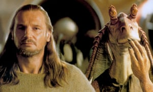 1999, STAR WARS: THE PHANTOM MENACE LIAM NEESON & JAR JAR BINKS Character(s): Qui-Gon Jinn Film 'STAR WARS: EPISODE I - THE PHANTOM MENACE' (1999) Directed By GEORGE LUCAS 19 May 1999 SAG25371 Allstar/LUCASFILM