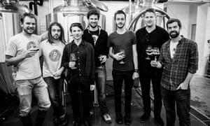 men at brewery
