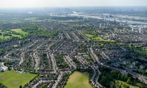 An aerial view of the areas of Woolwich and Shooters Hill, South London