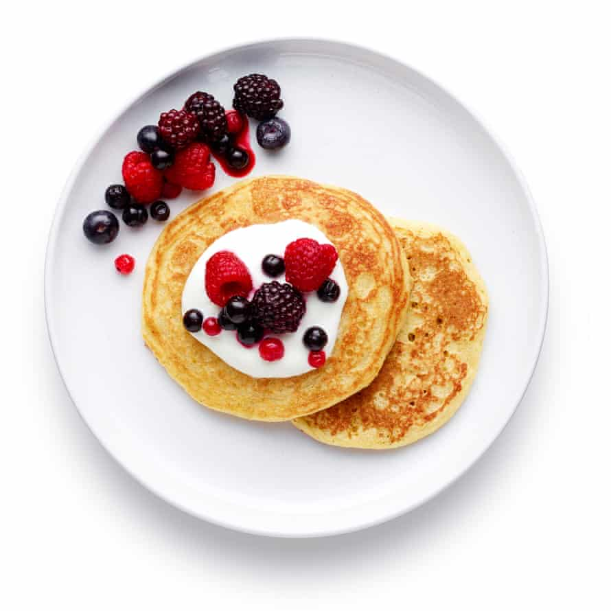 Felicity Cloake's Masterclass: American pancakes 07: 8 Serve warm with fresh fruit or compote and yoghurt, the classic maple syrup and bacon, or chocolate.