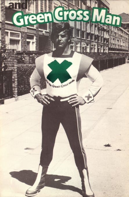 Prowse as the Green Cross Man in a 1970s road safety campaign