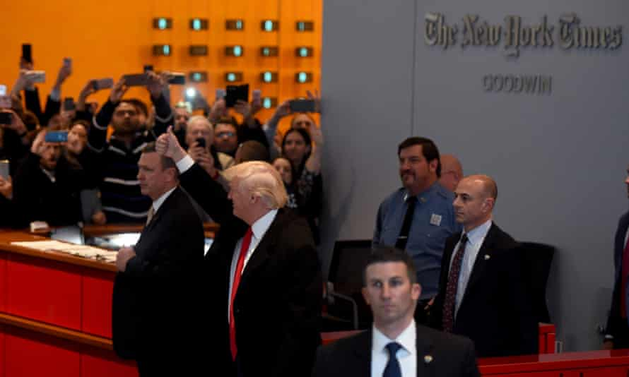 Donald Trump leaving the New York Times building