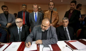 Representatives of Libyan municipalities sign documents to support the new national government