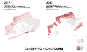 Map showing the proposal to densifying to densify high ground in Jamaica Bay, NY, by 2067