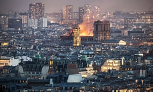 Notre Dame as the fire spread.