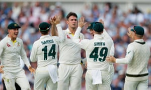 Mitchell Marsh celebrates the dismissal of Sam Curran, one of four wickets claimed by the bowler on day one.