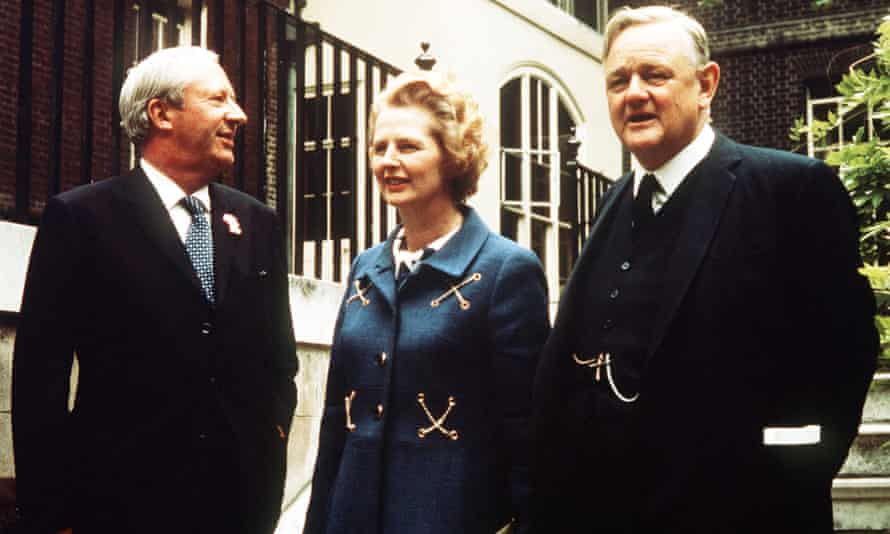 Lord Hailsham, Charlotte Hogg's grandfather, with Ted Heath (left) and Margaret Thatcher.