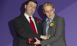 Douglas Alexander and Mhairi Black shake hands during the declaration of results on general election night.