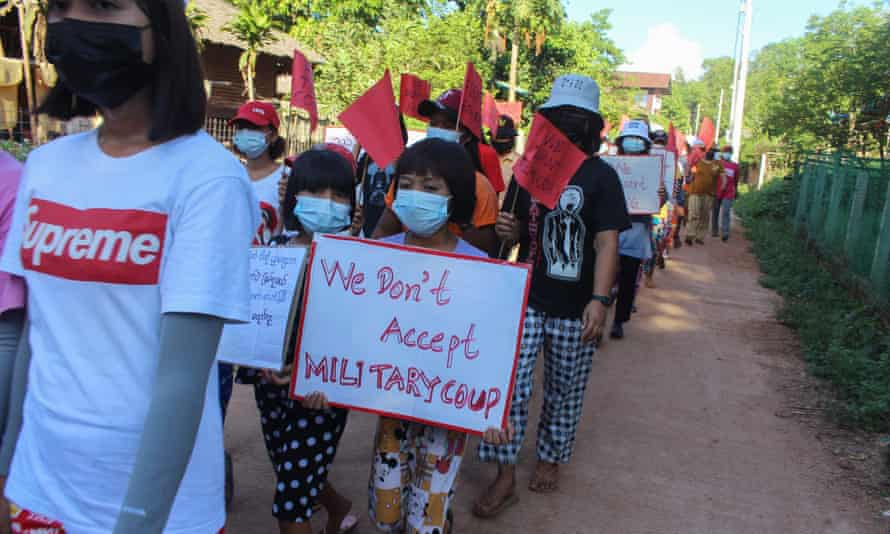 Protesters against the military coup in Pandale, a village in south Myanmar.