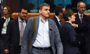 The Greek finance minister, Euclid Tsakalotos, arrives for the eurogroup meeting at the EU headquarters in Brussels.