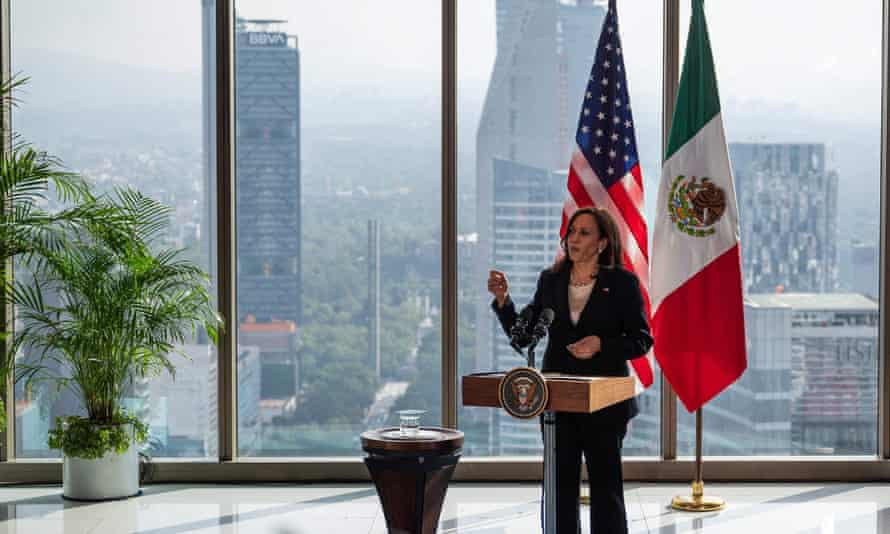 Kamala Harris speaks during a press conference in Mexico City.