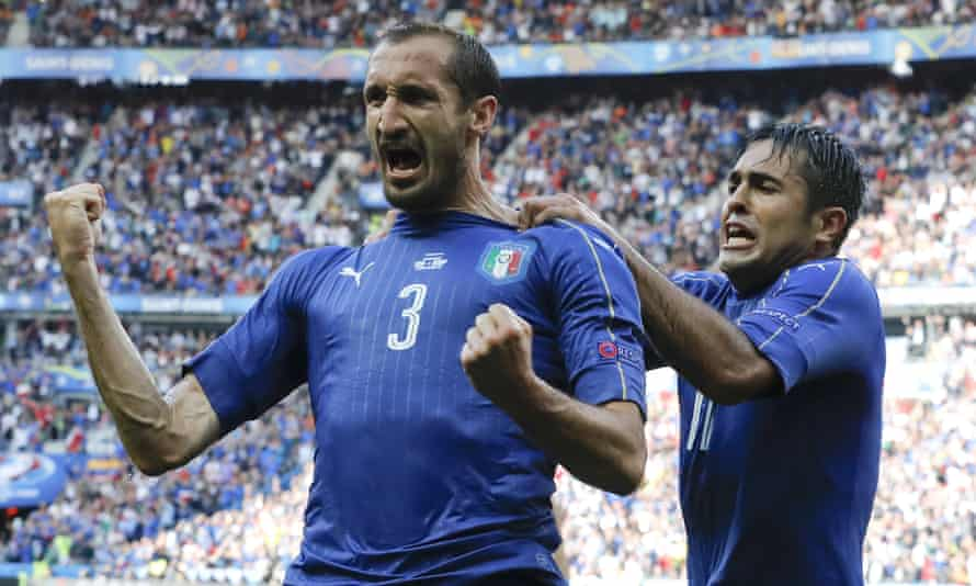 Giorgio Chiellini, left, celebrates with Eder after scoring Italy's first goal during against Spain at Euro 2016.