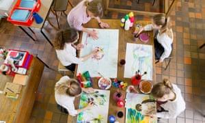 Children in an art class