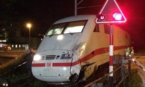 Damaged train after crash in Interlaken