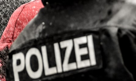 Close-up of German police insignia on back of uniform.