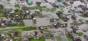 A view from a helicopter of flooding in Beira. The Red Cross says that as much as 90% of the city has been damaged or destroyed.