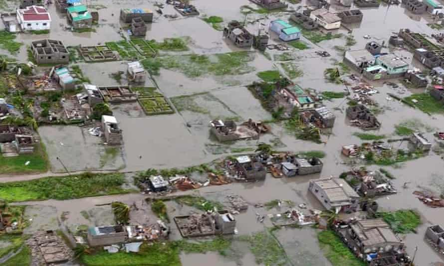 An aerial shot of Beria made available by the IFRC on Monday.