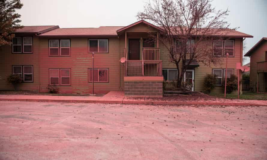Almeda Fire Aftermath, Talent, Oregon, USA - 17 Sep 2020<br>Mandatory Credit: Photo by Chris Tuite/ImageSPACE/REX/Shutterstock (10781213ar) A general view of the Anderson Vista Apartments which were sprayed with fire retardent during the Almeda Fire. The town of Talent, Oregon, showing the burned out homes, cars and rubble left behind. In Talent, about 20 miles north of the California border, homes were charred beyond recognition. Across the western US, at least 87 wildfires are burning, according to the National Interagency Fire Center. They've torched more than 4.7 million acres -- more than six times the area of Rhode Island. Almeda Fire Aftermath, Talent, Oregon, USA - 17 Sep 2020