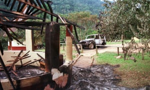 The devastated Bwindi camp in Uganda, where tourists were slaughtered in 1999