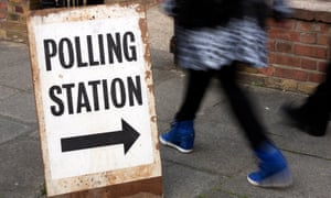 Person walking to a polling station