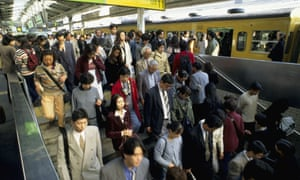 A Tokyo subway crowd. A new census reveals that the population in Japan has declined by nearly a million in five years.